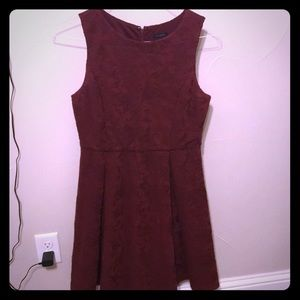Ann Taylor red fit and flare lace dress